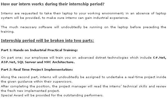 internship in dotnet